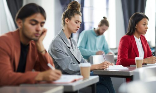 Side view portrait of contemporary young woman taking notes in class during training course on business and management, copy space